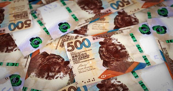 Honk Kong Dollar growing pile of money concept illustration