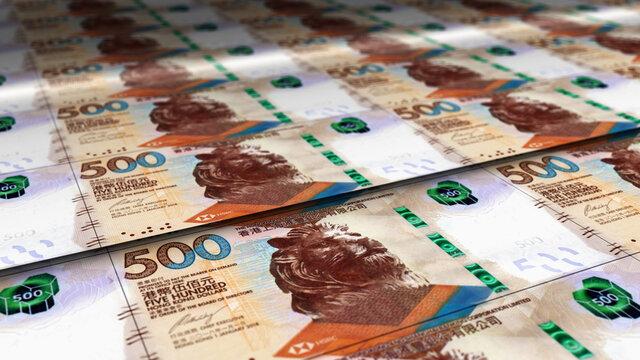 Honk Kong Dollar note money printing concept illustration