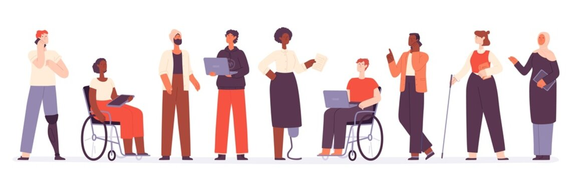 Flat diverse group of business people and office worker. Teamwork inclusion with muslim, black and active disabled characters vector concept