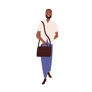 Happy black man full-length portrait. Modern young bearded person in glasses. Smiling African-American guy in casual clothes walking with bag. Flat vector illustration isolated on white background