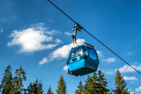 Blue gondola of cable car