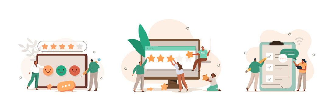 People сharacters giving five star feedback. Clients choosing satisfaction rating. Customer service and user experience concept. Flat cartoon vector illustration and icons set.