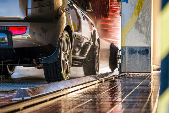 Detail of car in car wash