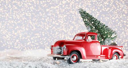 Obraz Christmas tree on red toy car trunk - fototapety do salonu
