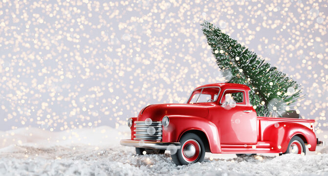 Christmas tree on red toy car trunk