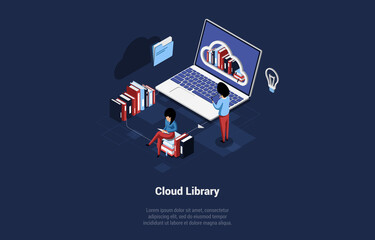 Obraz Isometric Vector Illustration With Writing. Conceptual Composition In Cartoon 3D Style. Cloud Library, Important Books And Documents Storage, Online Application Or Program Of Offline Access To Info - fototapety do salonu
