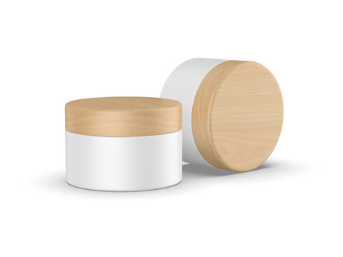 Cosmetic cream jar with wooden lid mockup, cosmetic container with wooden cap mock up template on isolated white background, 3d illustration