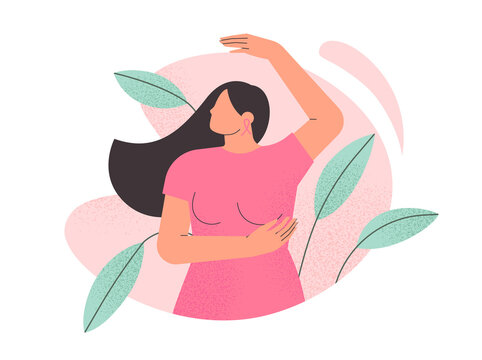 Breast cancer awareness month. Young beautiful woman performing a breast self examination. Female health. Poster or banner for oncology prevention campaign. Isolated flat vector illustration