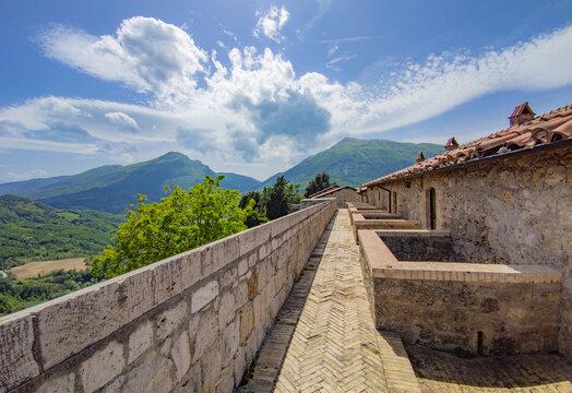 Civitella del Tronto (Italy) - The touristic medieval town in province of Teramo, Abruzzo region, with the old fortress castle in stone by Borbone reign