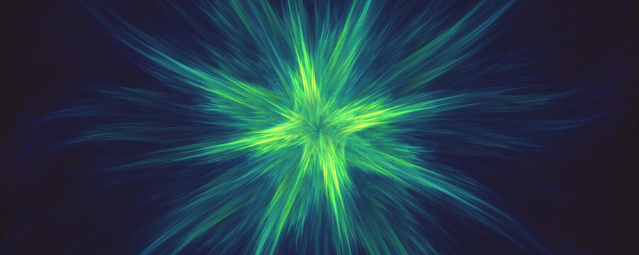 Green abstract fractal explosion background