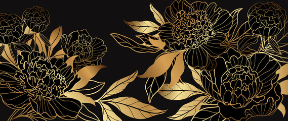 Obraz Luxury gold floral background vector. Golden gradient Roses and peonies flower line art wallpaper design for prints, cover, wall arts, greeting card, wedding cards, invitation. - fototapety do salonu