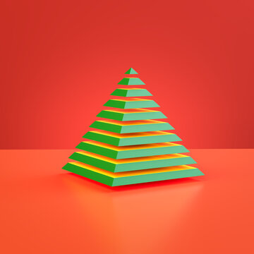 Abstract christmas tree. A green pyramid cut into pieces hovering above a red background.