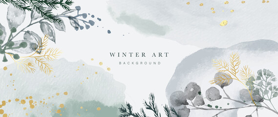 Fototapeta Winter background vector. Hand painted watercolor and gold brush texture, Flower and botanical leaves hand drawing. Abstract art design for wallpaper, wall arts, cover, wedding and  invite card.  obraz