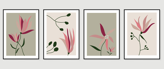 Obraz Abstract art nature background vector. Modern shape line art wallpaper. Boho foliage botanical leaves watercolor texture design for home deco, wall art, social media post and story background. - fototapety do salonu