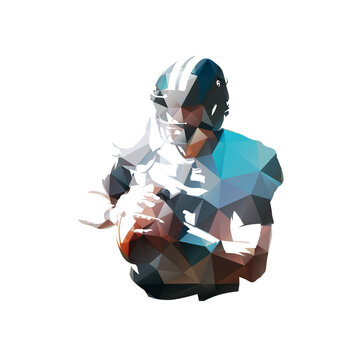 American football player with ball, isolated low polygonal vector illustration. Geometric drawing from triangles, Football logo