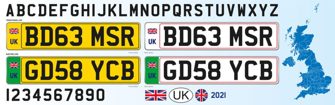 United Kingdom license plate new design 2021, numbers, lettering and symbols, vector illustration
