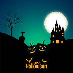 Obraz happy halloween banner with castle and pumpkins - fototapety do salonu