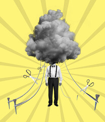 Modern design, contemporary art collage. Inspiration, idea, aspiration and fantasy, dreams. Male body and cloud instead head
