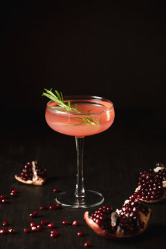 Pomegranate alcohol cocktail in a glass