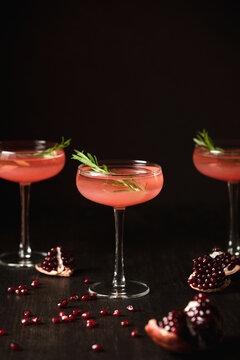 Pomegranate alcohol cocktail in a drinking glass