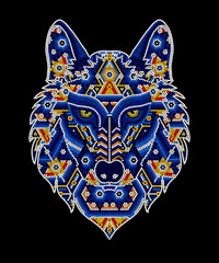 Obraz vector illustration of colorful beaded wolf head inspired in mexican huichol art. Isolated on black background. - fototapety do salonu