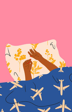 Hands of the girl under the blanket. Person sleeping under soft cozy blanket in bed at home, top view. Morning in bed, coziness, relaxation concept. Hand drawn modern Vector illustration