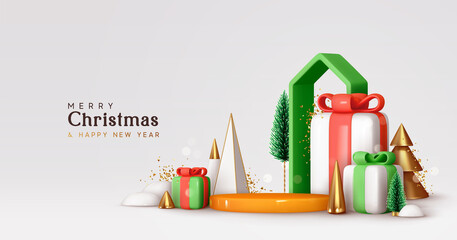 Obraz Christmas and New Year festive round podium studio. Realistic 3d design, cone trees, gift box and house. Creative holiday template. Xmas winter composition. Banner and web poster, cover, brochure - fototapety do salonu