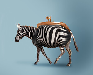 Fototapeta premium Budget safari - happy zebra and wallet concept