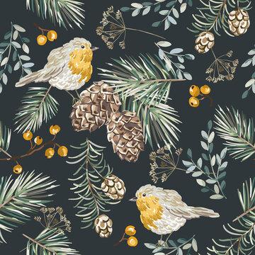 Christmas seamless pattern, robin birds,  berries, fir twigs, cedar cones, black background. Vector illustration. Nature design. Season greeting. Winter Xmas holidays