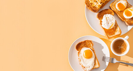Obraz fried Toast bread with four different types of cooked chicken eggs, scrambled eggs, fried eggs, poached egg and creamed egg. Breakfast of chicken eggs. methods of making eggs for breakfast - fototapety do salonu