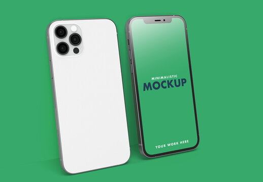 Front and Back Pro Smartphone on a Clean Flat and Colorful Green Wall Background