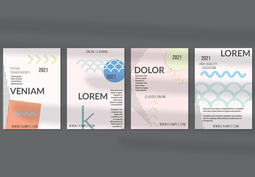 Flyer Layouts with Paper Cut Layered Simple Geometric Shapes