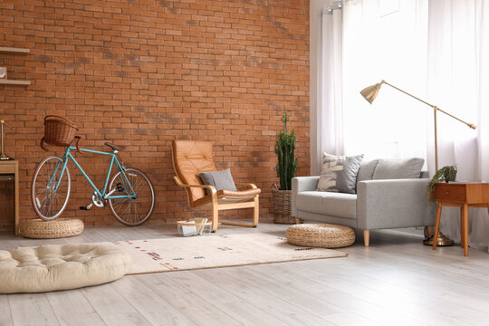 Comfortable living room interior with modern bicycle