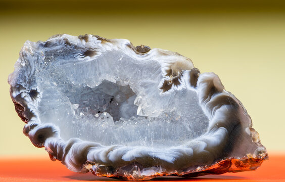 A polished, natural druse with agate and rock crystal