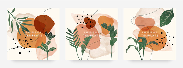 Fototapeta premium Square web banners background for social media with place for text and photo. Tropical leaves and organic shape watercolor style background for advertising, social media post, wall art, canvas prints.