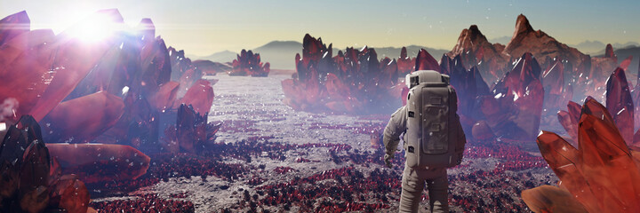 Fototapeta astronaut on alien planet, exoplanet landscape with giant crystals obraz
