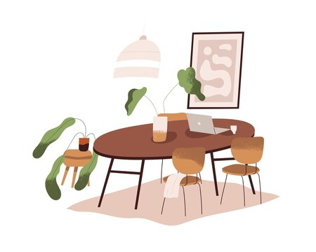Dining room interior design. Cozy minimalistic home with round wood table with laptop, chairs, house plants, carpet, chandelier and picture. Flat vector illustration isolated on white background