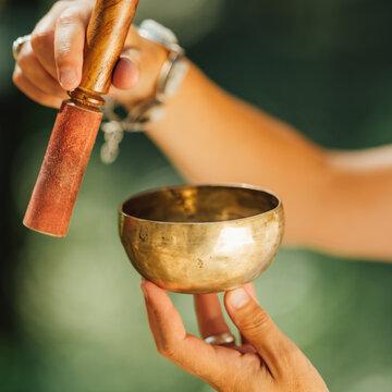 Tibetan Singing Bowl in Sound Healer Hands
