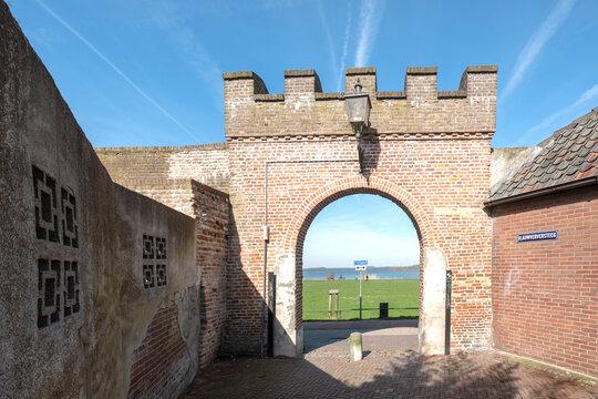 City gate on the Blauwverversteeg in Harderwijk, Gelderland Province, The Netherlands