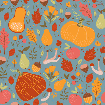 Seamless autumn pattern. Pumpkins, berries, leaves and fruits