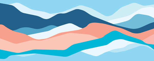 Fototapeta Multicolor mountains, translucent waves, abstract color glass shapes, modern background, vector design Illustration for you project obraz