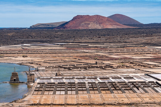Panoramic view of the salt flats of Lanzarote