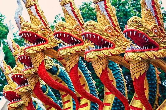 Dragons decoration in Pattaya temple, Thailand