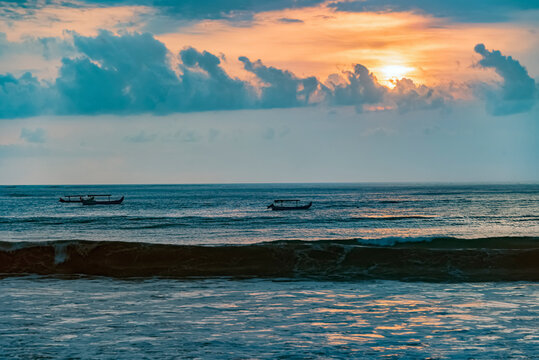 Seascape in Bali at sunset