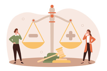Obraz Legal decisions concept. Two girls standing near scales. Weigh pros and cons. Decision making, assessment of prospects, balance. Cartoon flat vector illustration isolated on white background - fototapety do salonu