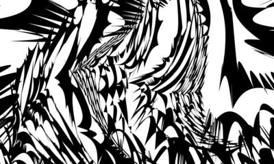 Obraz op art mysterious wallpaper with mystical black pattern on white - fototapety do salonu