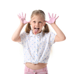 Obraz Little girl with hands in pink paint grimacing on white background - fototapety do salonu