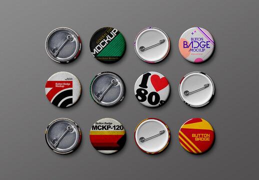 Vintage Metal Button Mockup Set