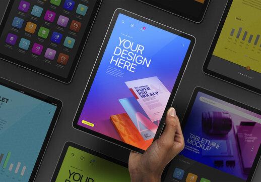 Hand Holding Tablet Mockup