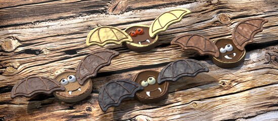 Obraz Halloween bat cookies on wooden background - 3D illustration - fototapety do salonu